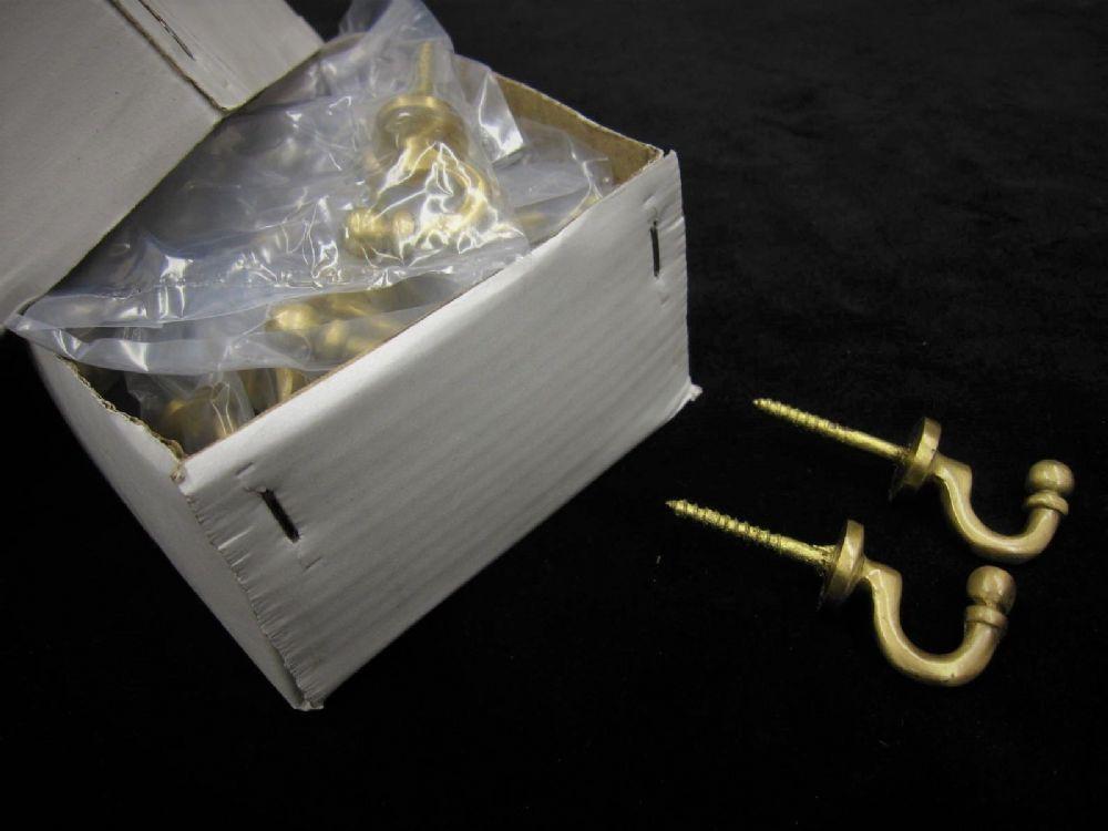 Box Of 25 Small Satin Brass Ball Cup Hooks Curtain Tassel Wall Fixing Bulk Lot